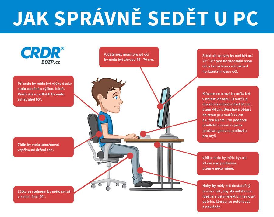 Jak správně sedět u PC (jednoduché cviky přímo u pracovního stolu)